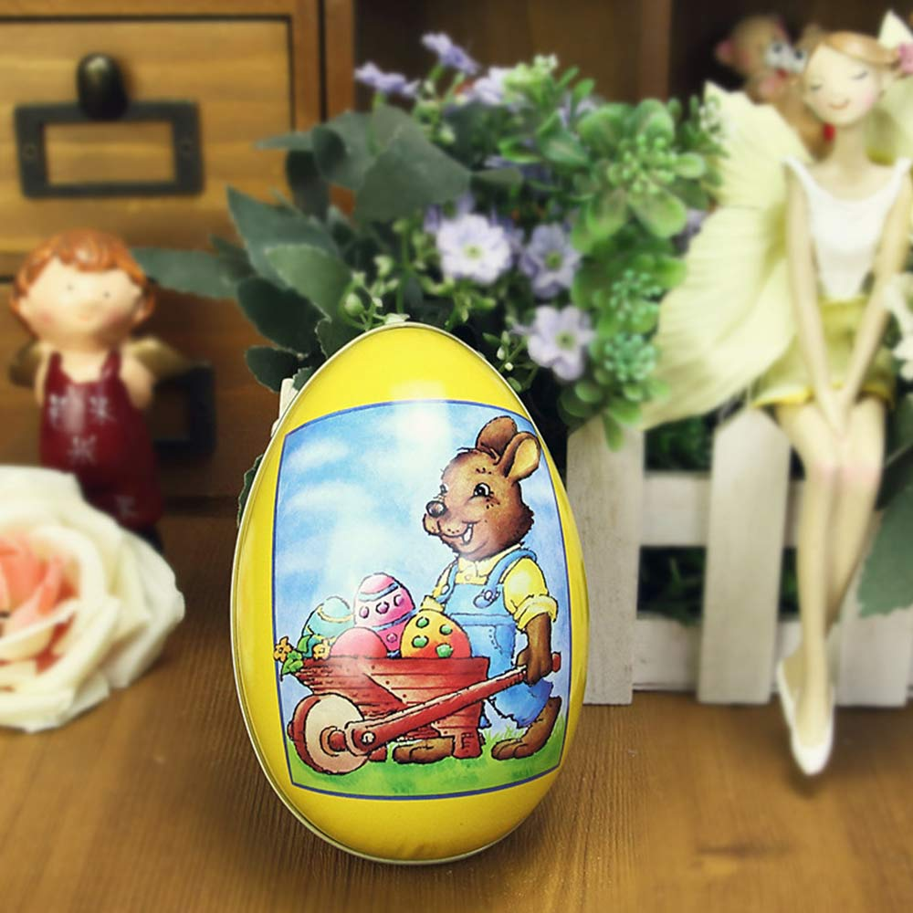 Cartoon Big Easter Eggs for Wedding Candies Storage, Tinplate Box for Baby's One Month Celebration Candy Box Bonbon Box Gift Box