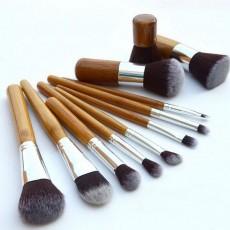 11PCS Makeup Cosmetic Brushes Tool Set with Bamboo Handle, Smooth Foundation Eyeshadow Eyeliner Powder Blush Brushes