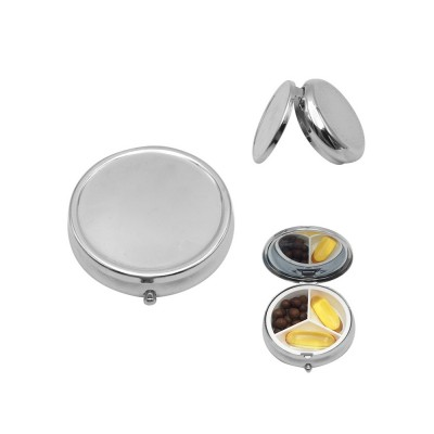 Portable Stainless Iron Pill Case, Silver Tablet Pill Medicine Organizer Container with Mirror, 3 Compartments
