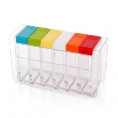 Transparent Plastic Seasoning Box, Six-Piece Set of Seasoning Bottle for Placing Salt, Sugar, Pepper
