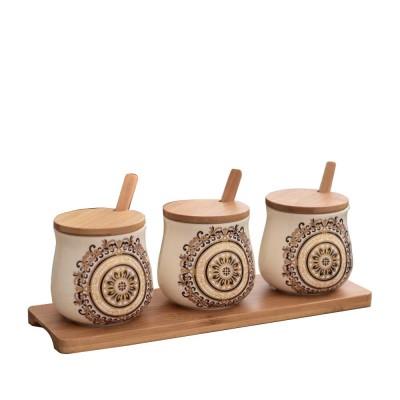 Three-piece Ceramic Seasoning Jar Set, Bamboo and Wood Ceramic Seasoning Bottle Set, with Wood Bracket