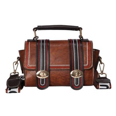 Embroidery Thread Boston Small Bag, Fashion Vintage Minimalist Ladies Shoulder Bag Handbag with Wide Shoulder Strap