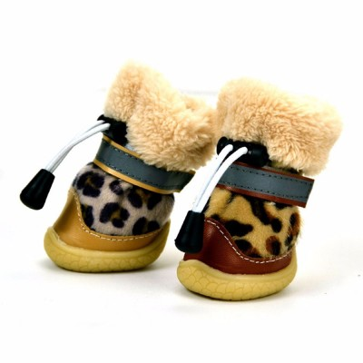 Fashion Leopard Print Suede Dog Shoes Apparel Pet Boots, Autumn and Winter Warm Pet Boots with Wear Resistant TPR Sole