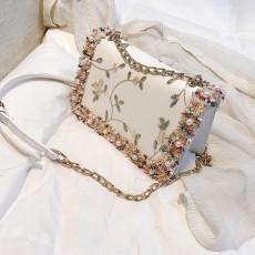 Stylish Luscious Lace Cording Women Shoulder Bag with Adjustable Shoulder Strap, PU Leather Crossbody Satchel Handbag