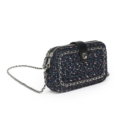 Delicate Paillette Twill Corduroy Mini Quilted Chain Shoulder Bag, Fashion Double-deck Dark Blue Crossbody Handbag