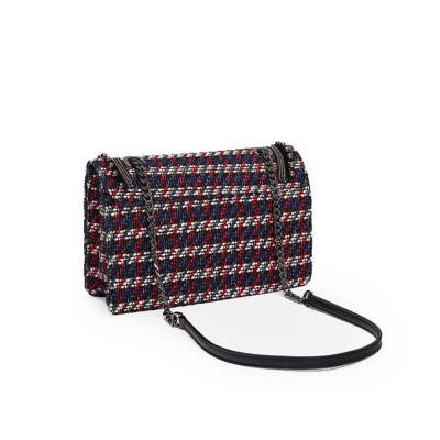 Ladies Quilted Chain Cross Body Hand Bag, Fashion Plaid PU Leather Beads Decoration Women Shoulder Bag