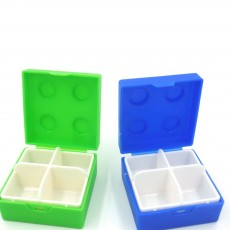 Colorful Building Blocks Pill Case, Mini Accessories Storage Box Cute Tablet Pill Medicine Organizer Container