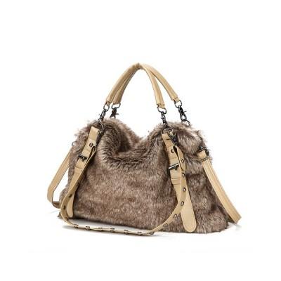 Luxury Fashion Warm Plush Women Bag with Three Methods of Use, Tote Messenger Crossbody Shoulder Bag Satchel Handbag