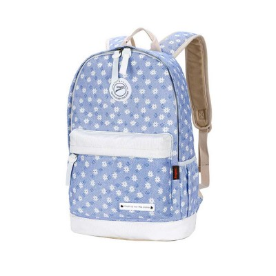 Floral Pattern Breathable Canvas Casual Students Backpack Sets, Fashion 3 PCS Laptop Bag Travel Bag with Small shoulder Bag