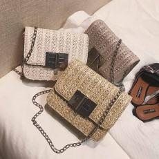 Fashion All-match Straw Weaving Women's Cross Body Shoulder Bag, Small Knit Handbag Satchel Messenger Shopping Purse