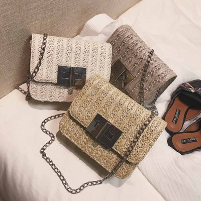 Fashion All-match Straw Weaving Women's Cross Body Shoulder Bag, Small Knit Handbag Satchel Messenger Shopping Purse