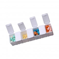 Portable 7 Compartment Dispenser Flip Pill Case, Weekly Tablet Medicine Organizer Container with Intimate Braille Design