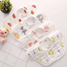 Cartoon Painting Pinafore for New Born Babies, 360 Rotation Petal-like Cotton Baby Bibs
