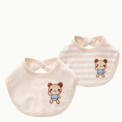 Newborn Infants Pinafore with A Little Bear Pattern, Natural Colored Cotton Baby Bibs