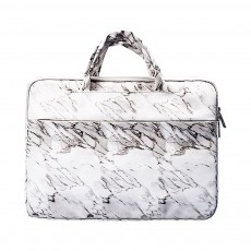 Marble Pattern Stylish Laptop Notebook Handle Bag, Waterproof Protective Felt Laptop Sleeve Bag with Belt Pouch
