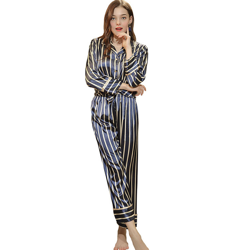 Women's Thin Cardigan Pajamas Set, Long-sleeved Trousers Silk Striped Tracksuit, Two-piece, Spring and Autumn
