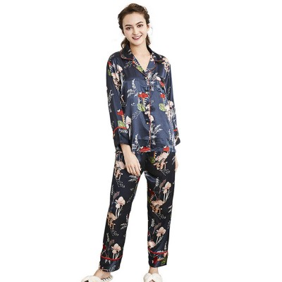 Imitation Silk Fabric Long-sleeved Tracksuit, Botanical Floral Pattern Printed Pajamas, Two-piece Suit