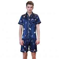 Soft and Breathable Printed Thin Men's Pajamas, Imitation Silk Short-sleeved Shorts Tracksuit Two-piece Suit