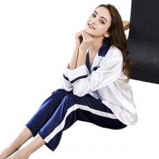 Classic Lapel Women's Long Sleeve Pajama 2 PCS Set, Imitation Silk Fabric Contrast Splicing Tracksuit