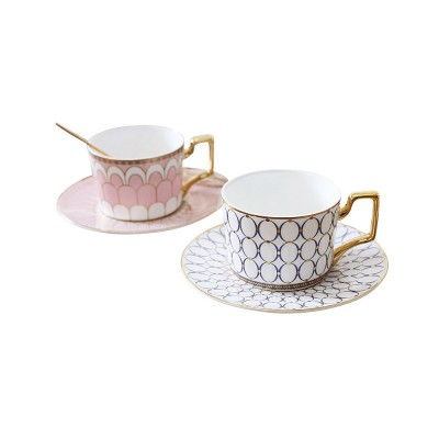 Ceramics Cups Sets - Tea Cup with Saucers Spoon, Exquisite Painting Porcelain Coffee Cups