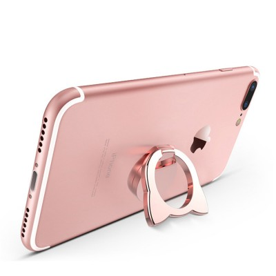 Fox Cartoon Drop-resistant Mobile Phone Ring Buckle, 360 Degree Magnetic Metal Phone Bracket