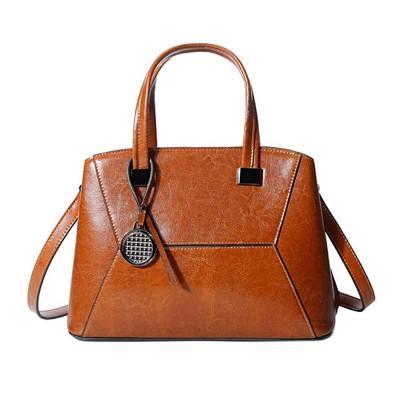 Oil Wax PU Leather Handbags With Detachable Shoulder Strap, Fashion Ladies Portable Slung Shoulder Bag