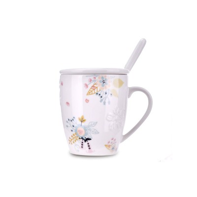 Ceramic Mug Embossed Painting with Cover Spoon for Office Water Coffee Porcelain Cup