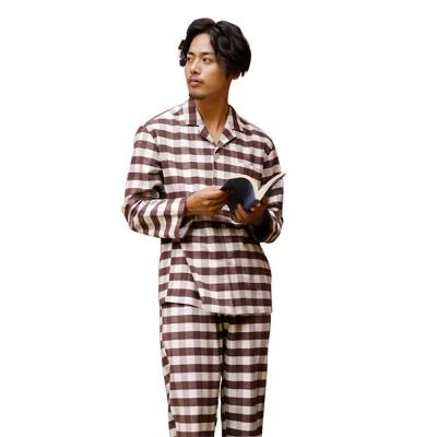 Stripe Nightgown Comfortable Pajamas Set for Men Long Sleeves Cotton Sleepwear Autumn Winter