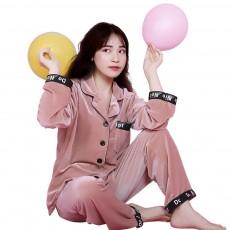 Women's Classic Lapel Long-sleeve Tracksuit, Soft Velvet Fabric Pajamas, with Interesting Printing Pattern
