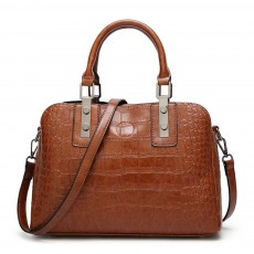 Women's PU Leather Crocodile Handbag With Magnetic Suction Button, Fashion Simple Tote With Large Capacity