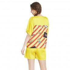 Thin Sexy Ice Silk Pajamas Set, Girl Short-sleeved Tracksuit, Two-piece Suit