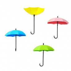 Umbrella Wall Hooks, Cute Little Sticky Hanging Hooks for Hat Purse Key Storage (3 packs)