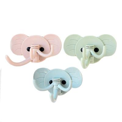 Cute Elephant Wall Sticky Hooks, Punch-Free, Waterproof Kitchen Bathroom Door Wall Hooks