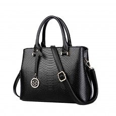Leather Crocodile Pattern Fashion Handbag With Firm Hooks, Scratchproof Waterproof Messenger Bag for Middle-aged Mother