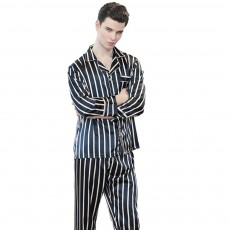 Men's Black and White Stripe Pajamas, Long Sleeve and Trousers Skin-friendly Tracksuit, Two-piece Suit