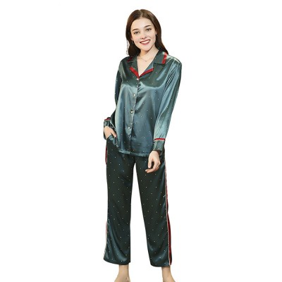 Breathable Soft Imitation Silk Fabric Pajamas, Women's Long-sleeve Trousers Printed Tracksuit 2019