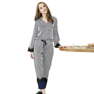 Soft Breathable Striped Stitching Pajamas, Female Imitation Silk Fabric Tracksuit set, Spring Autumn, 2019