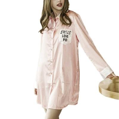 Girls Shirt-style Cardigan Pajamas, Long-Sleeved Imitation Silk Fabric Striped Tracksuit