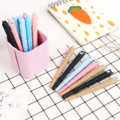 Cute Alpaca Soft Rubber Neutral Pen, Student Examination Black Ink Gel Pen, Writing Supplies Signature Pen 0.5mm