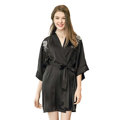 Peony Beautiful Embroidery Printing Sexy Nightgown, Female Summer Catwalk Imitation Silk Fabric Pajamas