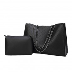 Rhombus Fabric Women's Shoulder Bag with Chain Strap, Fashion Mother Bag With Large Capacity 2 Set Handbags