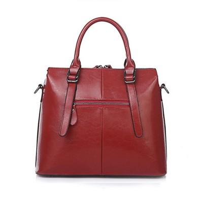 Oil Wax Leather Handbags With Adjustable Shoulder Strap, Fashion Ladies Portable Slung Shoulder Bag