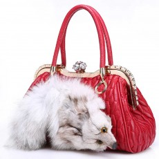 Women's Real Fox Sheep skin Handbag with Flat Hand Strap, Fashion Simple Shoulder Tote