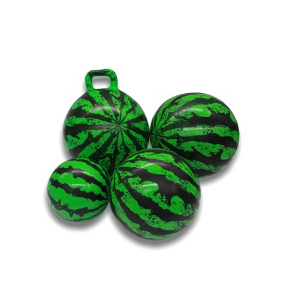 Watermelon Rubber Bounce Ball, Inflatable Elastic Punch Parent-child Interaction Ball with Handle