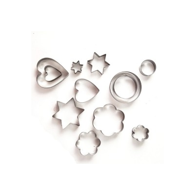 DIY Baking Mould Cookie Cutters 12PCS/Set,  Stainless Steel Round Hexagon Flower Shape Molds
