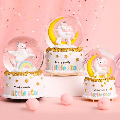 Musical 80 MM Unicorn Snow Globes with Music Perfect Unicorn Toys for Girls,Home Decor for Girls Kids Gift BREIS Snow Globe for Kids Resin//Glass