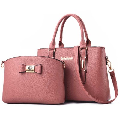 Fashion PU Leather Women's Shoulder Bag With Metal Reinforced Hand 2 Sets bags