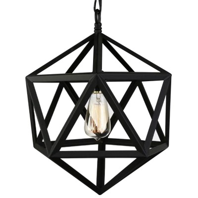 Wrought Iron Chandelier Lighting, American Country Multi-hexahedron Lamp