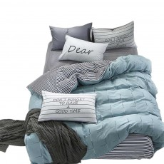 Simple Bedding Set 4 Pieces, Activated Dyeing & Printing 100% Organic Cotton Bedding Set