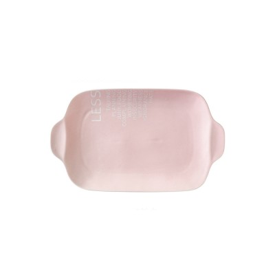 Ceramic Breakfast Food Trays, 12 inches Double-ear Rectangle Steak Plate